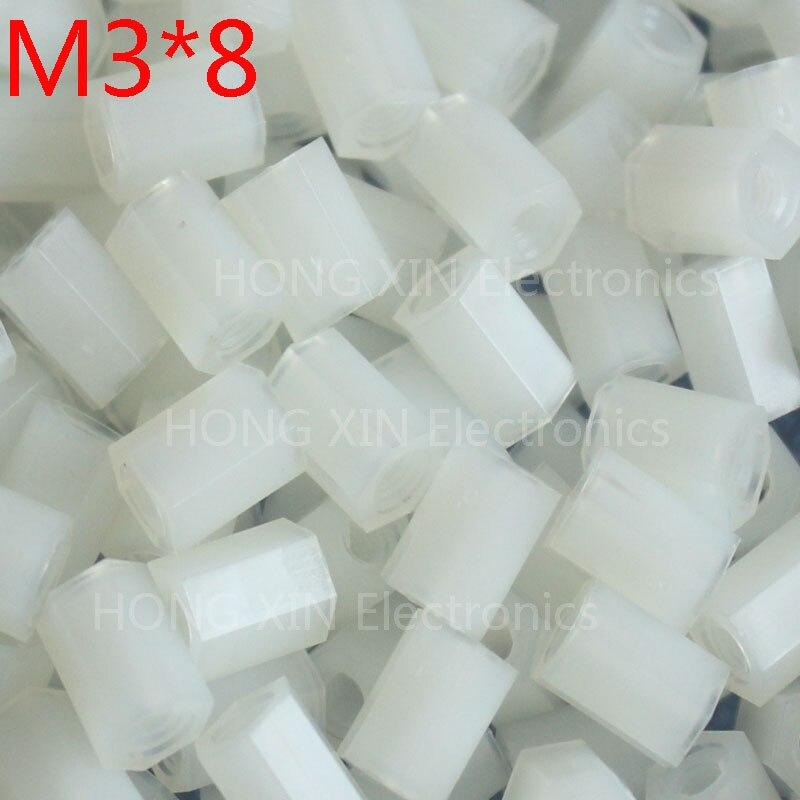 M3 * 8 8mm 1 pcs branco Nylon Hex Masculino-Feminino Standoff Spacer Rosca Espaçador Hexagonal Standoff Spacer nova marca
