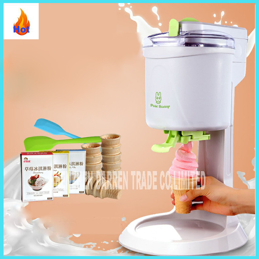 BL-1000 Automatic DIY ice cream machine Home children DIY Ice Cream Maker automatic fruit cone soft ice cream machine 220v 21W free shiping fried ice cream machine 75 35cm big pan with 5 buckets fried ice machine r22 ice pan machine ice cream machine