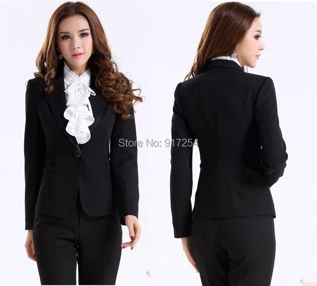Plus Size XXXL Uniform Design 2015 Autumn Winter Professional Business Work Wear Suits Pants And Tops Office Pantsuits Set S-3XL