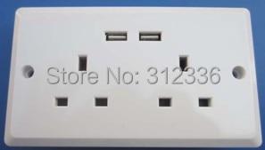 Free Shipping UK type six Holes 250V 13A  2 USB DC 5V 1000mA   white panel wall Socket  uk style usb3 0 round type panel mounting usb connecter silver surface