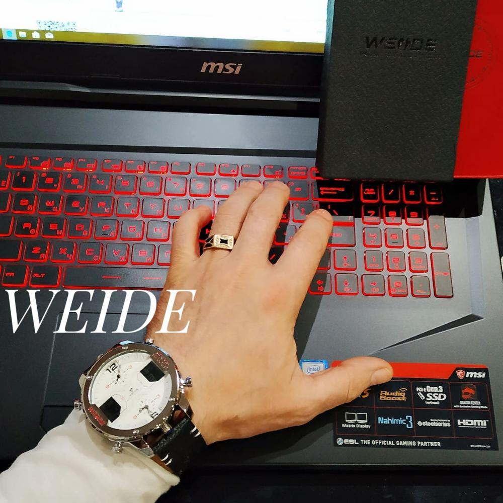 WEIDE montre de sport pour hommes mains analogiques calendrier numérique Quartz marron bracelet en cuir montres reloj hombre 2019 horloge militaire - 4