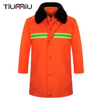 Wholesale Unisex Work Wear Coat Sanitation Service Protective Clothing Men Orange Warm Coat with Reflector Winter One-Piece Coat