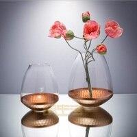 22K rose gold carved crystal glass vase flower flower arrangement Candlestick high end club model room