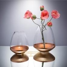 22K rose gold carved crystal glass vase flower arrangement  Candlestick high-end club model room
