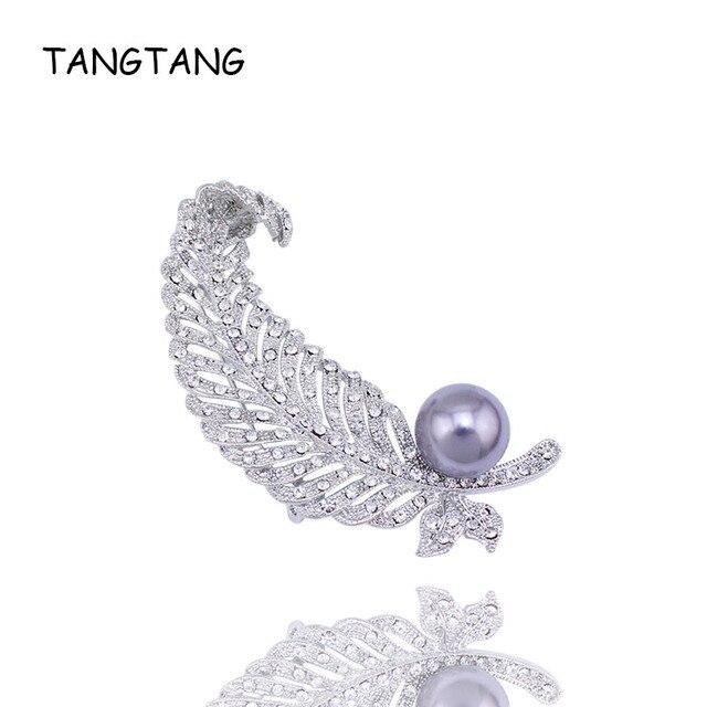 Fashion Silver Tone Female Crystal Rhinestone Simulated Pearl Feather Wedding Pin Brooch Hot Sale Elegant New ,Item No.: BH7756