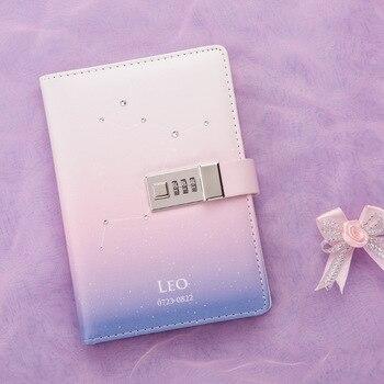 Kawaii b6 conjunto de notebook plutônio criativo bonito constelação planejador divisor código bloqueio de notas livros diário viagem pessoal livro