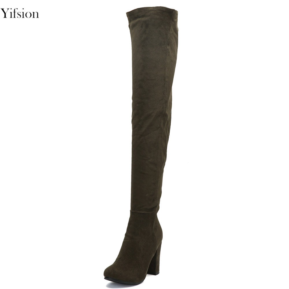 Yifsion Hot Women Winter Boots Over The Knee Boots Square High Heel Sexy Pointed Toe Dark Green Office Shoes Women US Size 4-15 yifsion hot women shiny sandals sexy square high heel sandals open toe black blue pink red leisure shoes women us plus size 4 15