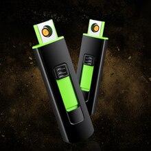 Новая полоса USB Зажигалка перезаряжаемая Электронная зажигалка тонкая для сигарет; защита от ветра зажигалка сигара плазменная беспламенная двухсторонняя