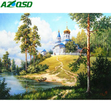 AZQSD Diamond Embroidery Landscape Painting Scenery Rhinestones Pictures Home Decoration Crystal Mosaic Needlework