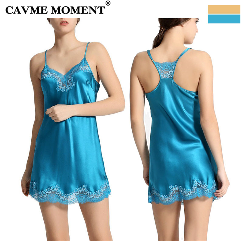 CAVME Luxury Silk Lace Spaghetti Strap   Nightgowns   Women Sexy Sleepwear Elegant   Sleepshirt   Homedress Solid Color Blue Yellow