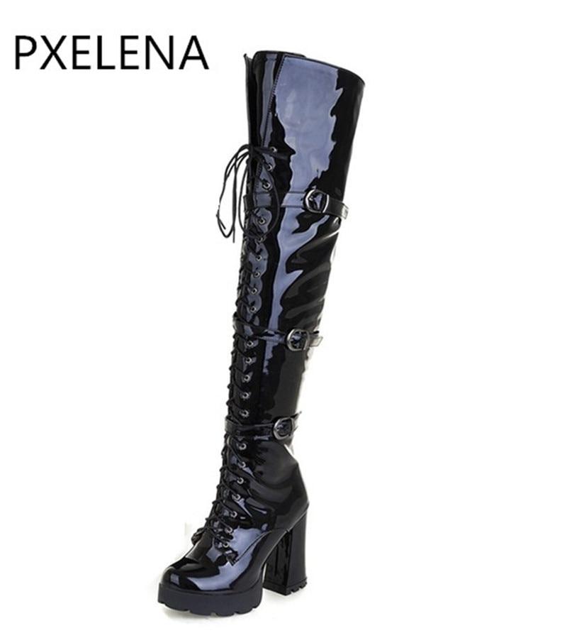 PXELENA Patent Luxury Leather Punk Rock Fibbia Stivali Alti Scarpe Da donna Chunky Block Tacco Alto Motorycle stivali Sopra Il Ginocchio stivali-in Stivali sopra il ginocchio da Scarpe su  Gruppo 2