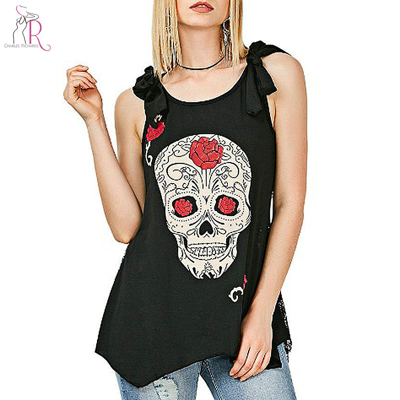 Black Skeleton Print Tank Tops Women Round Neck Sleeveless 2018 New Fashion Casual Loose Vest Top Clothing Plus Size S-5XL