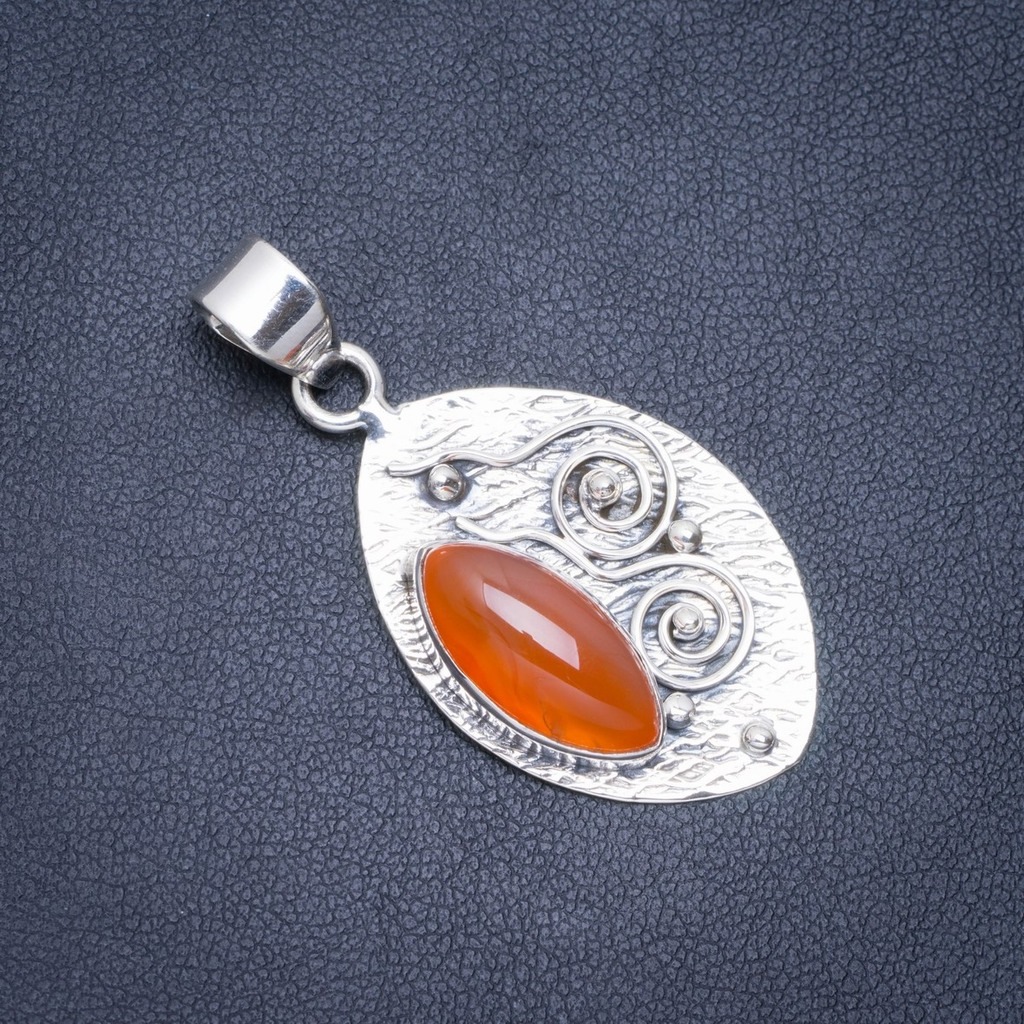 Natural Carnelian Handmade Unique 925 Sterling Silver Pendant 1.75 A0496Natural Carnelian Handmade Unique 925 Sterling Silver Pendant 1.75 A0496