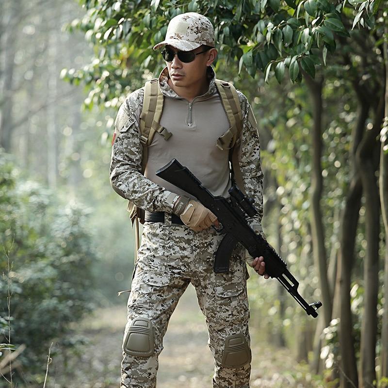 Mens Hunting Clothes Camouflage Suit Army Uniform Military Tactical Jackets+pants Uniforms Us Multicam Combat Ghillie Suits Men outdoor hunting clothes us army tactical uniform men camouflage suit military combat uniform set shirt pants acu camo clothing