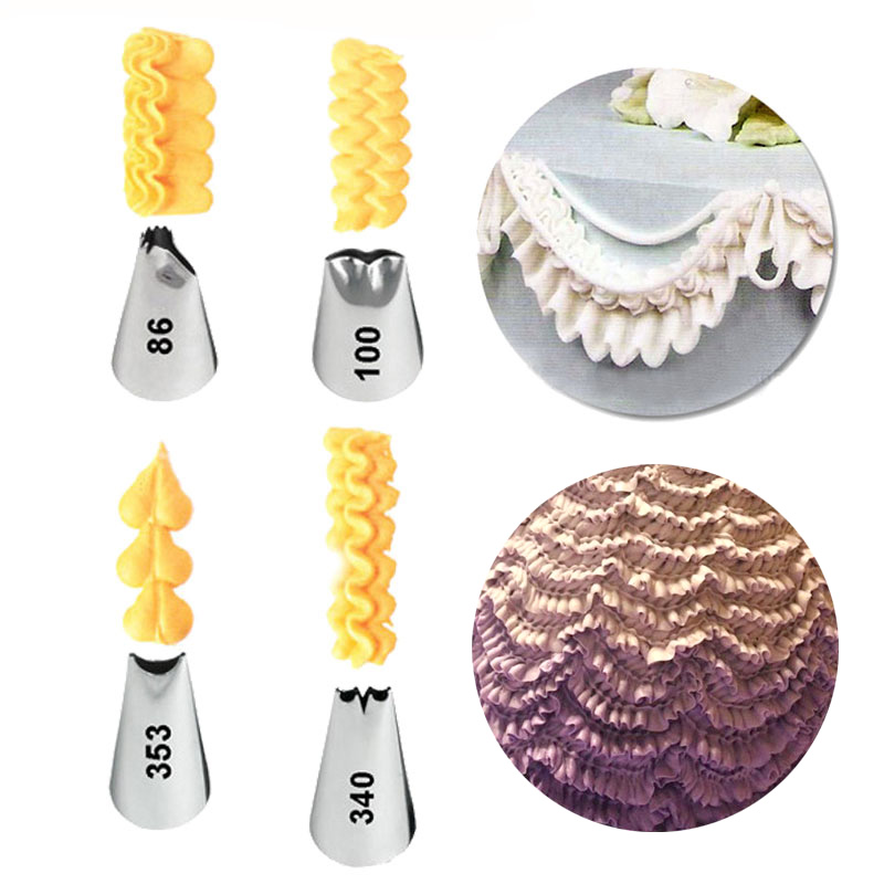 4 bucăți / set Fold Cream duze Icing Piping Tort Sfaturi de - Bucătărie, sală de mese și bar