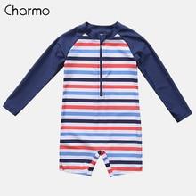 Charmo One-Piece Baby Boys Zipper Swimwear Kids Striped Rashguard Swimsuit Child Long Sleeved Rash Guards UPF 50+ Beach Wear