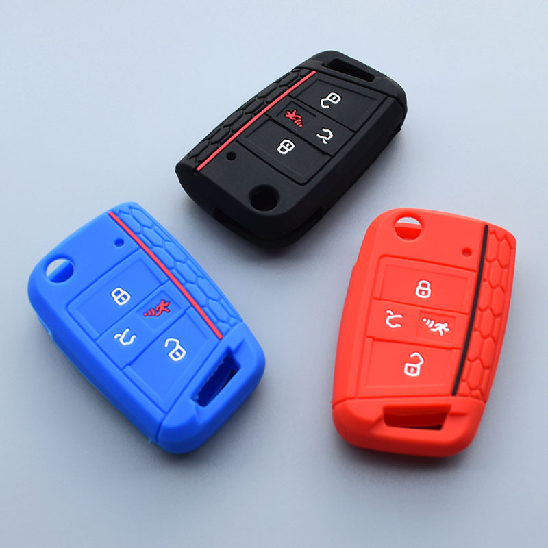 Car Remote Key >> 4 button key silicone fob cover case skin for VW Polo 2016 ...