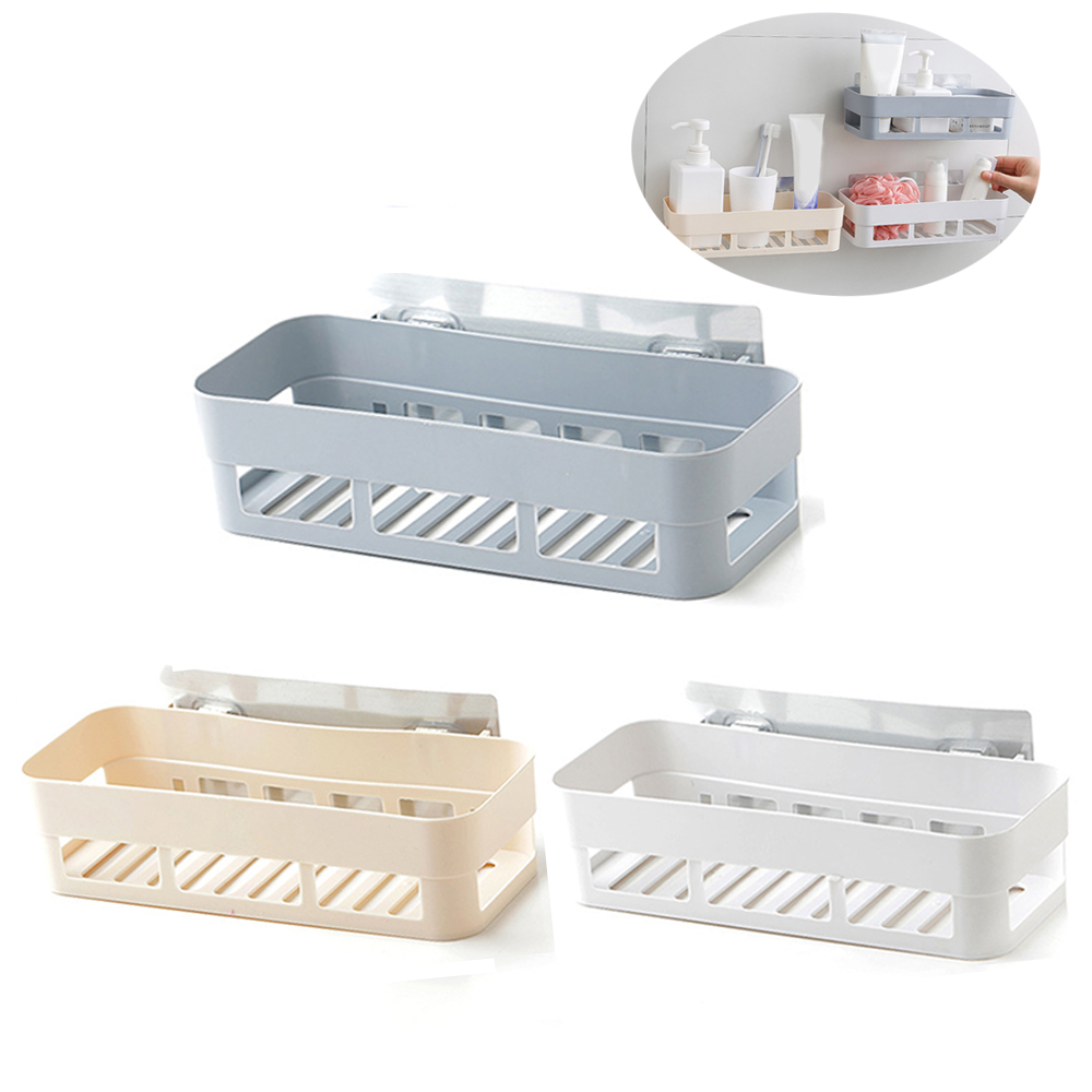 Bathroom Shelf Bathroom Adhesive Storage Rack Kitchen Home Decoration Corner Shower Shelf Rack Storage Rack Accessories 3 Colors