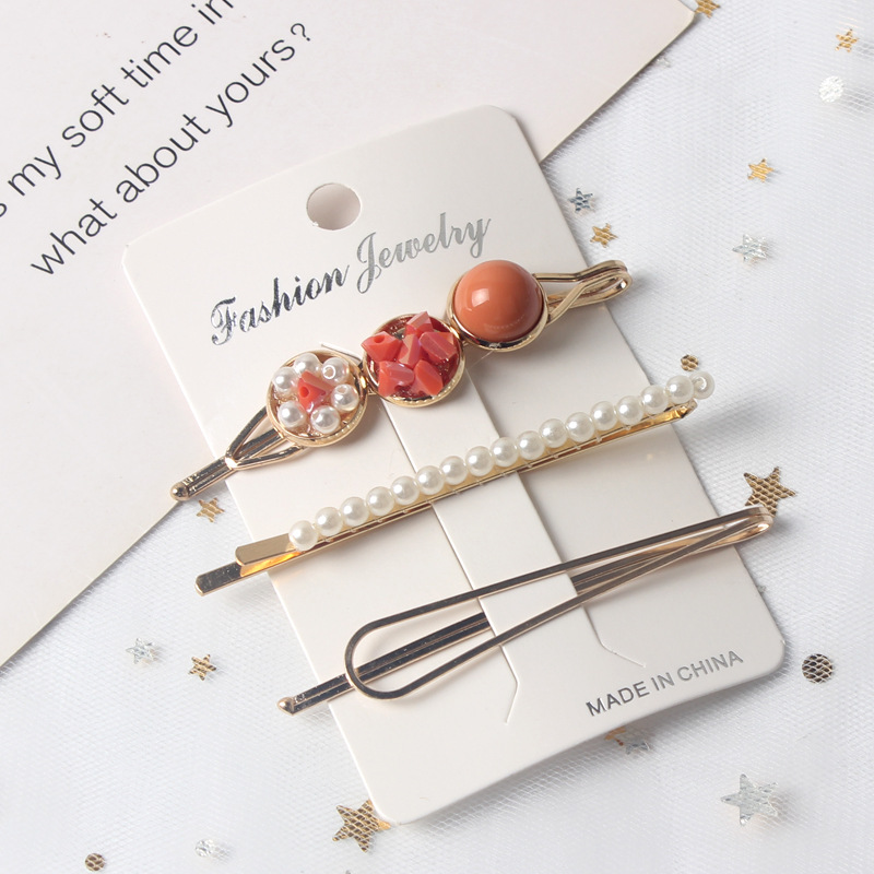 Купить с кэшбэком 3PCS Girls Pearl Hair Clip Fashion Metal Hair Clips Barrette Stick Women Bobby Hair Pins Hair Styling Accessories for Wedding