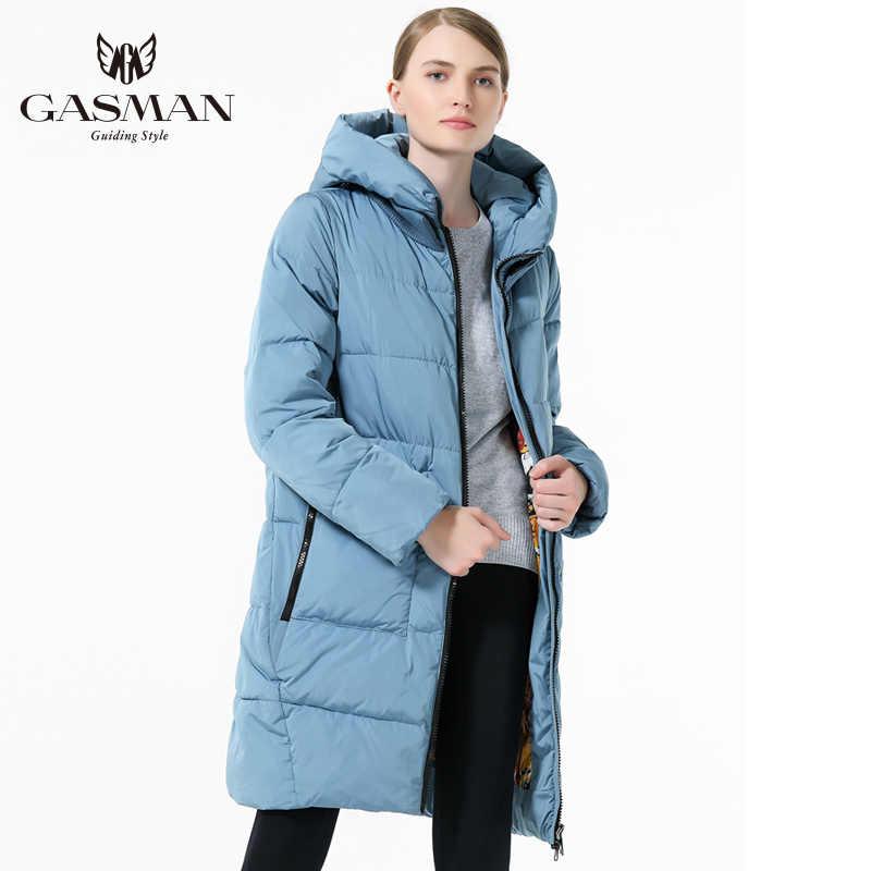 GASMAN 2019 chaqueta cálida para mujer abrigo abierto medio-largo talla grande moda mujer chaqueta con capucha 5XL 6XL