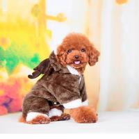 Cute Elk Deer Christmas soft comfortable Dog warm winter Clothing Costume Clothes Apparel Puppy Teddy pet accessory Coat jacket
