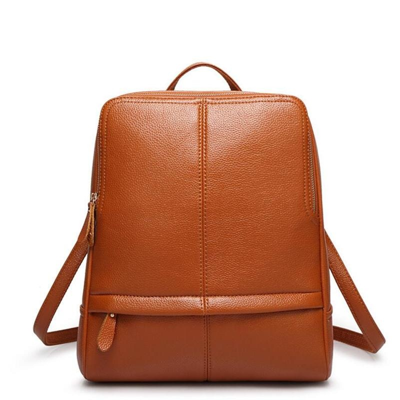 New Female Trave Bag Large Capacity Backpack Korean Women Backpack Leisure Student Schoolbag Soft Pu Leather Women Bag