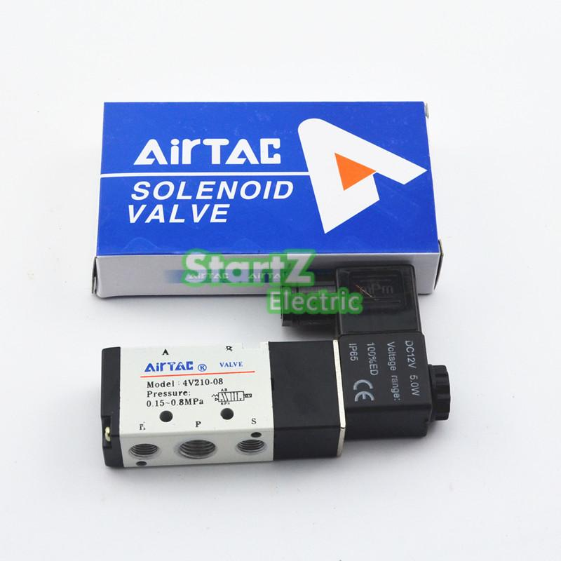 Free Shipping  5 Way 2 Position 1/4'' Airtac  Solenoid Valve 4V210-08 DC24V DC12V AC110V AC220V 5 way pilot solenoid valve sy3220 3d 01