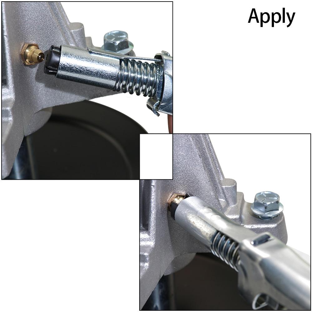 Boerray Silver Heavy-Duty Quick Release Grease Gun Coupler onto Zerk Fittings, 10,000 PSI 1/8
