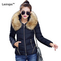 Fashion Wind Coat Women Cotton Solid with Cap Pockets Thick Wide-waisted Zipper Long Women's Winter Fur Hooded Parka Large Size