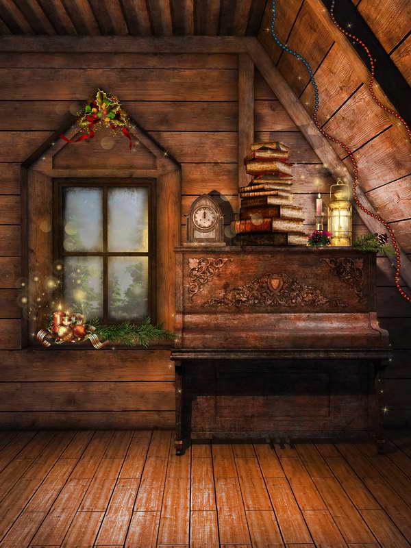 wooden background christmas backdrop piano attic studio backdrops window books garland decors decorations candles custom newborn vinyl photoshoot cottage zoom