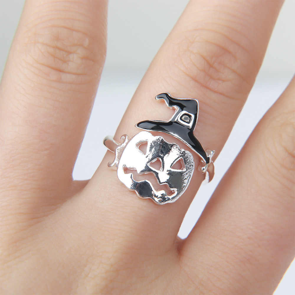 1pc 新ハロウィンカボチャ帽子ゴーストオープンリング女性のためのクリエイティブユニークな指輪調整ジュエリーパーティー anillos