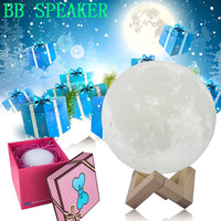3D Print Moon Lamp USB Rechargeable Dimmable LED Full Moon Lamp 3D Switch Warm Cool White