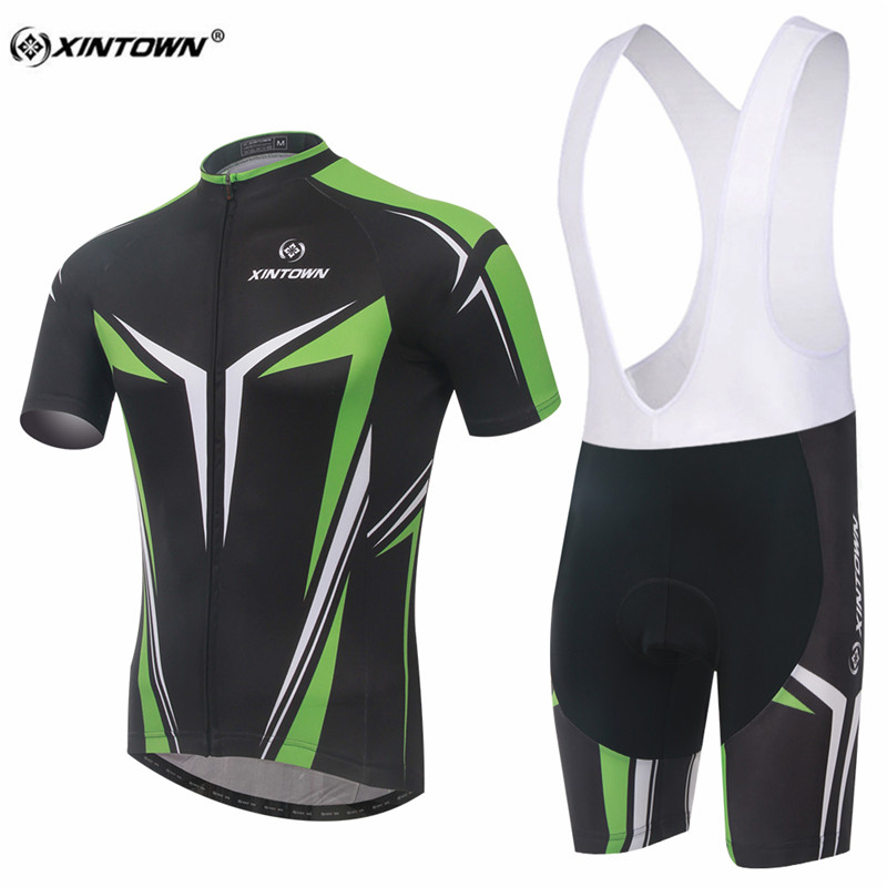 XINTOWN Black With Green Sweat Short Sleeve Cycling Jersey Set MTB Bike Clothing Bicycle Jerseys For Men Pro Road Clothes