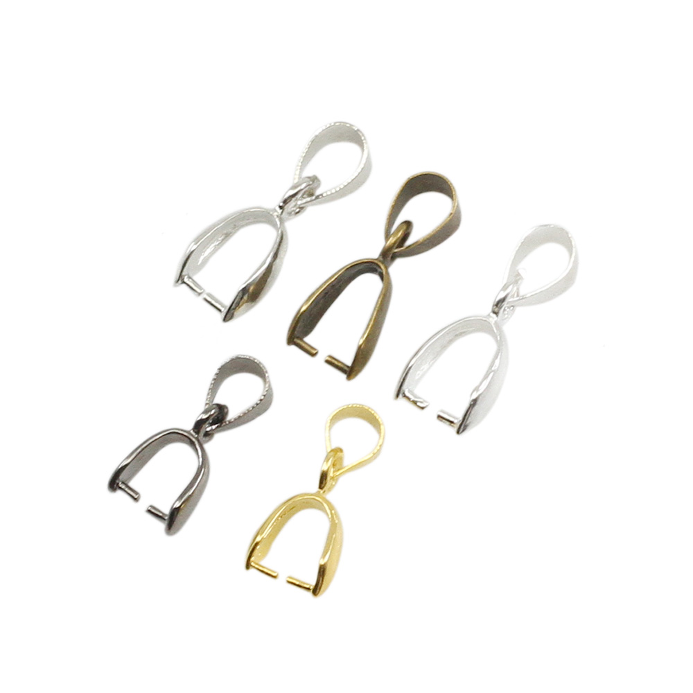 50pcs/lot Gold Silver Copper Pendant Clasps Hook Bails Clips Connectors For Jewelry Making DIY Necklace Pendants Clasp