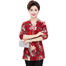 Mature Women Chiffon Peplum Blouses Red Green Floral Crepe Tunic Woman Spring Summer Top Plus Size Blouse Basic Shirt 2019 Tunic цена 2017