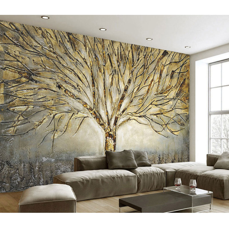 Home Decor Wall Papers 3D Embossed Tree Wall Painting ...