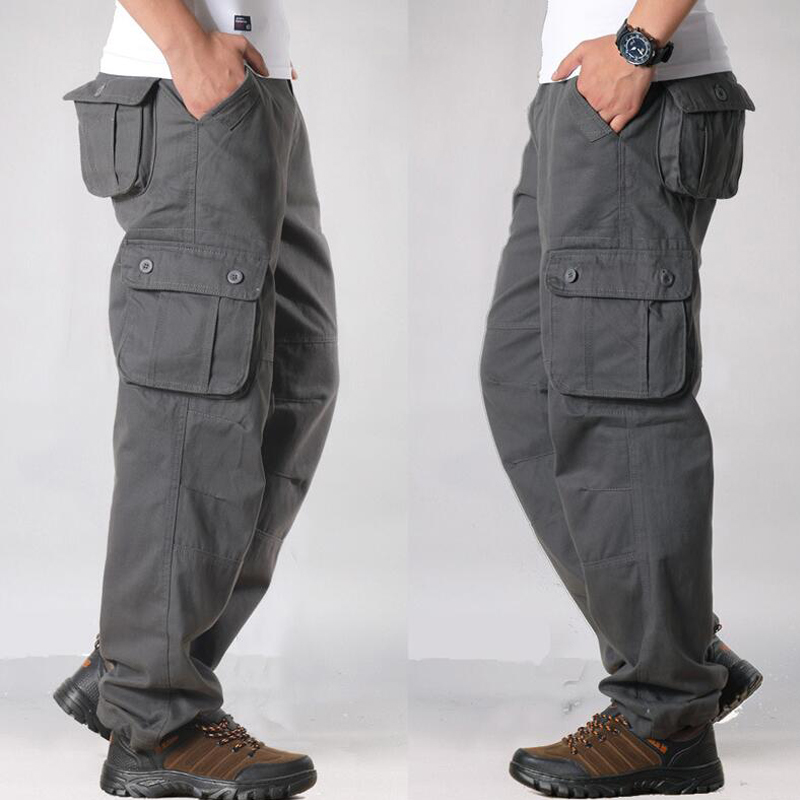 Men's Cargo Pants Mens Casual Multi Pockets Military Large size 44 Tactical Pants Men Outwear Army Straight slacks Long Trousers