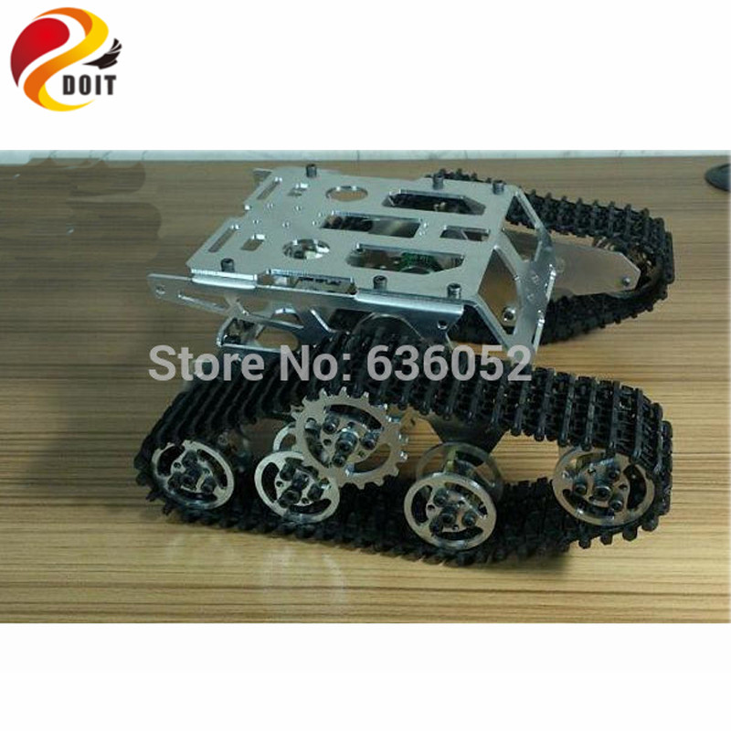 все цены на Official DOIT RC Tank Chassis Caterpillar Walle Tractor Crawler Metal Wheel Robot Wall-e Car Obstacle Avoidance DIY RC Toy онлайн
