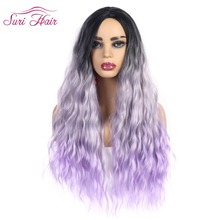 Suri Hair long body wave Synthetic Wigs Women Lady Daily Costume Cosplay Wig black root Ombre Purple wig High Temperature Fiber стоимость