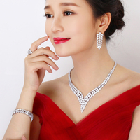 Limited edition Luxurious jewellery set for engagement party White/Gold Necklace+Bracelet+earrings+Ring Big 4pcs jewelry sets