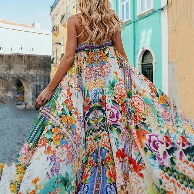 Women Boho long Dress Summer Casual Expansion shoulder strap color Print Sleeveless Girl Fashion sling Dress tourism large swing