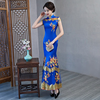 Elegant Women Handmade Button Qipao Flower Slim Short Sleeve Cheongsam 2019 New Prom Mermaid Dress Banquet Gowns Plus Size 3XL