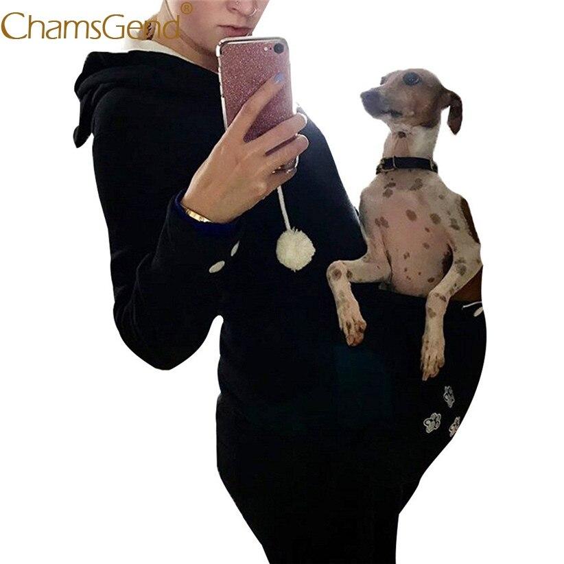 Chamsgend Sweat Shirts Femmes Hiver Chaud Poche Kangourou Chat Oreille Pull Manteau Pour Carring Pet Chien Chat 71225