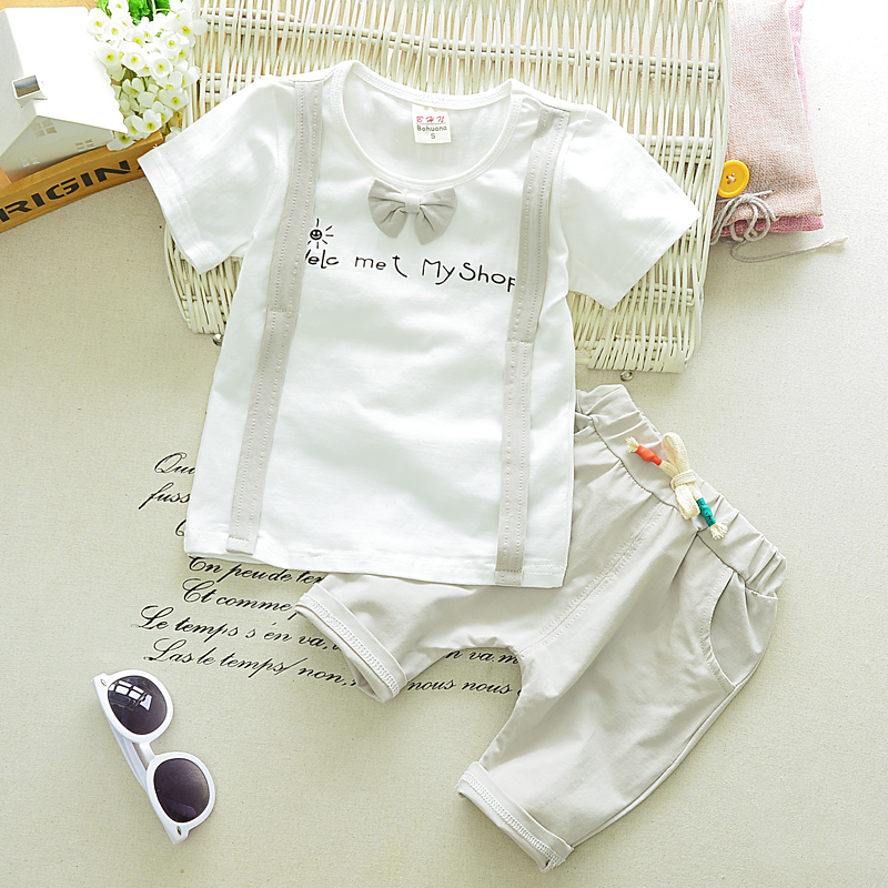 Gentleman style 2017 Summer Baby Boys Wear Clothes Sets Bowknot T Shirt+Pants Infant Cotton Suits Kids Children Casual Suits