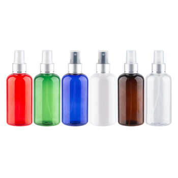 WholeSale 220ml Empty Plastic Cosmetic Bottle Silver Sprayer PET Bottle For Perfume Liquid Medicine Or MakeUp Fix Mist Spray