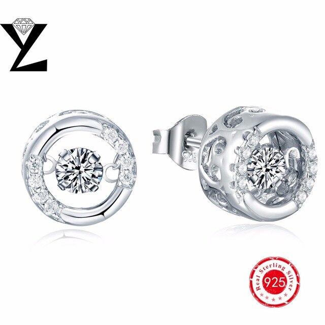 Стад серьги женщины кристалл высокое качество стерлингового серебра 925 серьги для женщин YL марка ювелирные изделия круглый танцы CZ алмазов