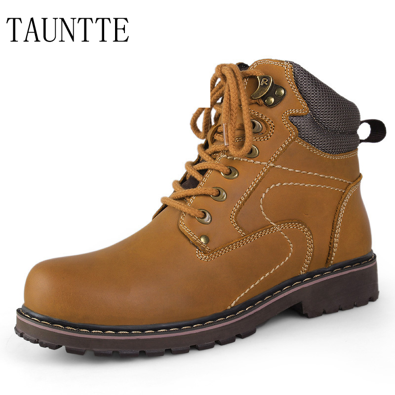 Tauntte Autumn And Winter Plush Men Work Boots Genuine Leather Motorcycle Boots Keep Warm Ankle Boots free shipping autumn winter genuine leather men s work ankle boots martin boots british style western cowboy boots for men botas