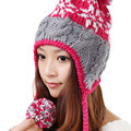 Fashion New Winter Warm Ski Ear Muff Beanie Women Lady Handmade Wool Knitted Hat Outdoor Cap