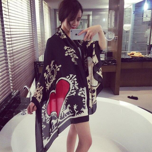 2016 Brand scarf Women Vintage Flower Heart Print Design Silk Scarves Fashion Bohemian Style Shawls Hijabs Ladies Wraps