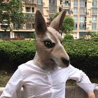 Halloween Mask Kangaroo Horse Mask Natural Green Vinyl Latex Unicorn Animal Caps Party Toys Movie Theme Props Supply